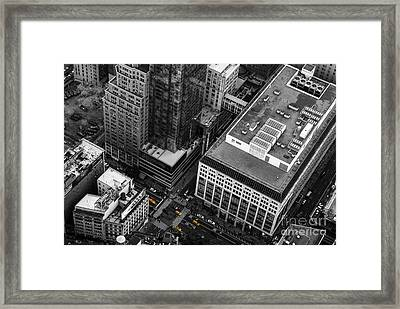 Yellow Cabs - Bird's Eye View Framed Print by Hannes Cmarits