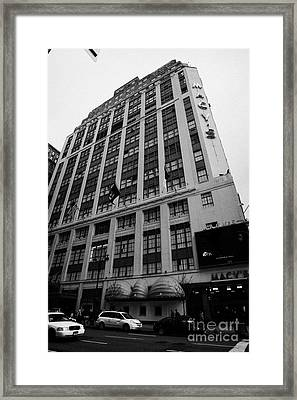 Yellow Cabs Outside Macys Department Store 7th Avenue And 34th Street Entrance New York Framed Print by Joe Fox