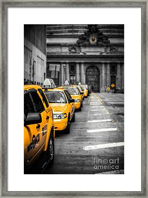 Yellow Cabs Waiting - Grand Central Terminal - Bw O Framed Print by Hannes Cmarits