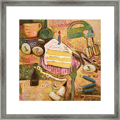 Yellow Cake Recipe Framed Print by Jen Norton