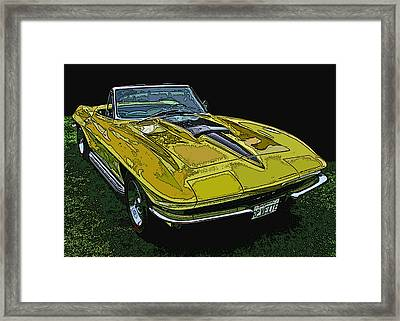 Yellow Chevy Corvette Stingray Framed Print by Samuel Sheats