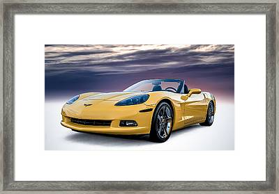 Yellow Corvette Convertible Framed Print by Douglas Pittman