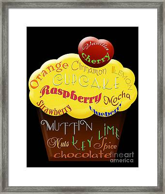 Yellow Cupcake Typography Framed Print by Andee Design