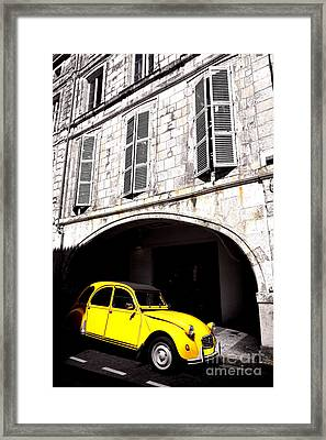 Yellow Deux Chevaux In Shadow Framed Print by Olivier Le Queinec