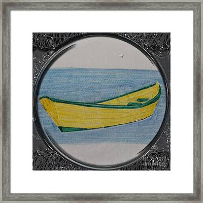Yellow Dory Porthole Vignette Framed Print by Barbara Griffin