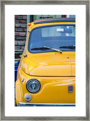 Yellow Fiat 500 1960s Model Framed Print by Aldona Pivoriene