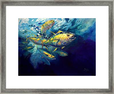 Yellow Fins Framed Print by Savlen Art