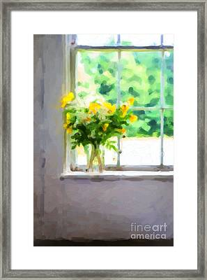 Yellow Flowers In The Window Framed Print by Diane Diederich