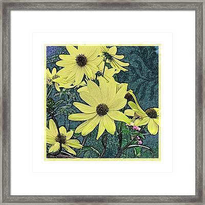 Yellow Flowers Of October Framed Print by Valerie Drake Lesiak