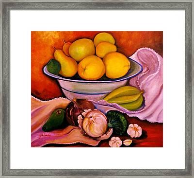 Yellow Fruits Framed Print by Yolanda Rodriguez