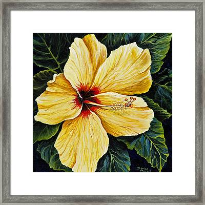 Yellow Hibiscus Framed Print by Darice Machel McGuire