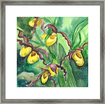 Yellow Ladies Slippers Framed Print by Christina Plichta