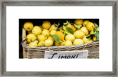 Yellow Lemons In Basket On Market Framed Print by Patricia Hofmeester