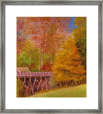 Yellow Maple Tree Near Old Mill Framed Print by Anne-Elizabeth Whiteway