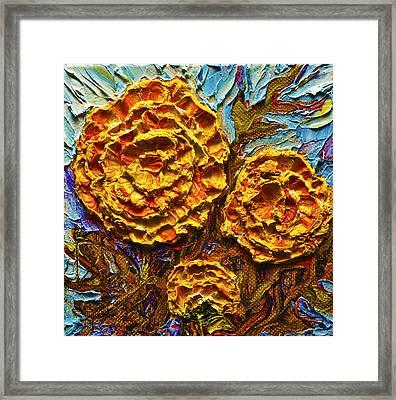 Yellow Marigolds Framed Print by Paris Wyatt Llanso