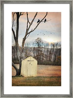 Yellow Outhouse Framed Print by Lori Deiter