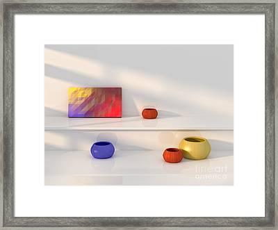 Yellow Red Blue Vase Still Life. Framed Print by Jan Brons