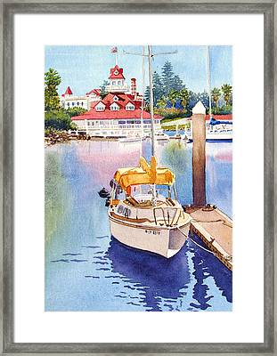 Yellow Sailboat And Coronado Boathouse Framed Print by Mary Helmreich