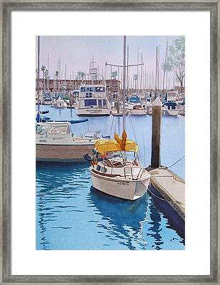 Yellow Sailboat Oceanside Framed Print by Mary Helmreich