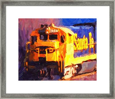 Yellow Sante Fe Locomotive Framed Print by Wingsdomain Art and Photography
