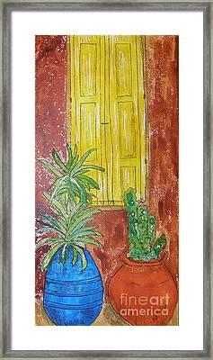 Yellow Shutters Framed Print by Marcia Weller-Wenbert