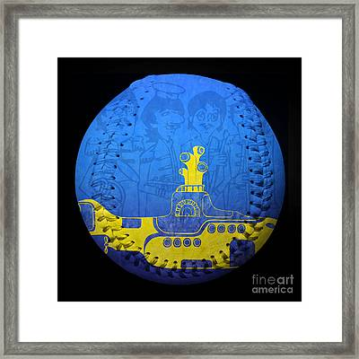 Yellow Submarine 2 Baseball Square Framed Print by Andee Design