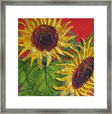 Yellow Sunflowers On Red Framed Print by Paris Wyatt Llanso