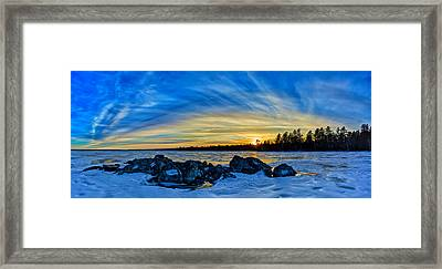 Yellow Sunset At Meddybemps Panorama Framed Print by Bill Caldwell -        ABeautifulSky Photography