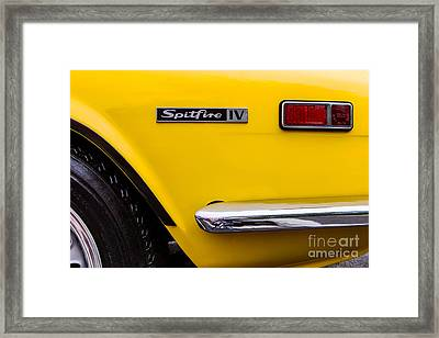Yellow Triumph Spitfire Framed Print by Jerry Fornarotto