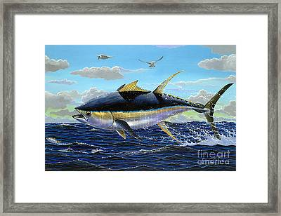 Yellowfin Crash Off0081 Framed Print by Carey Chen