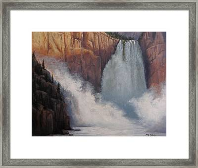 Yellowstone Falls Thunder Framed Print by Mar Evers