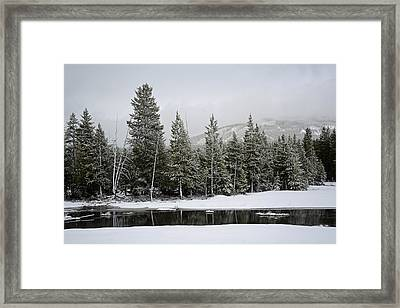 Yellowstone Gibbon Meadows Spring Snow And Reflection Framed Print by Bruce Gourley