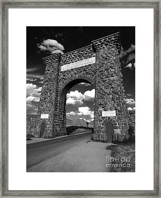 Yellowstone National Park Gate - Black And White Framed Print by Gregory Dyer