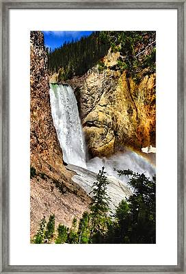 Yellowstone Lower Falls Rainbow Framed Print by Dan Sproul
