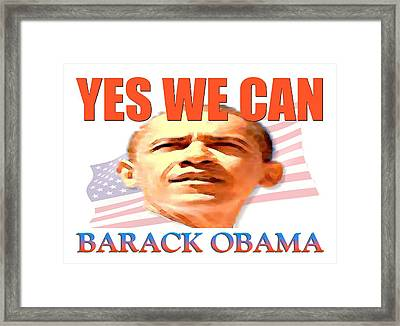 Yes We Can - Barack Obama Poster Art Framed Print by Art America Online Gallery