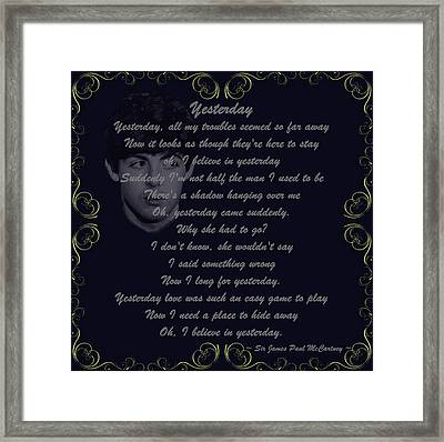 Yesterday Golden Scroll Framed Print by Movie Poster Prints