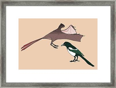 Yi Qi Dinosaur Size Comparison Framed Print by Nemo Ramjet