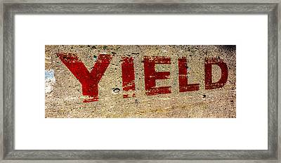 Yield Framed Print by Bob Orsillo