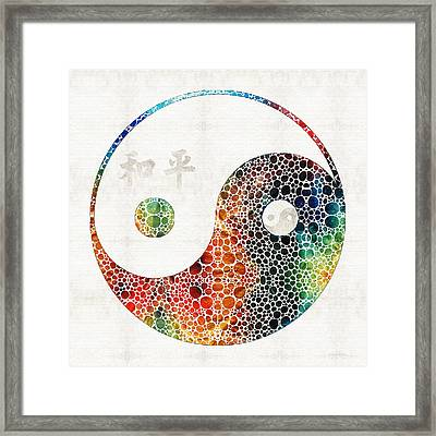 Yin And Yang - Colorful Peace - By Sharon Cummings Framed Print by Sharon Cummings