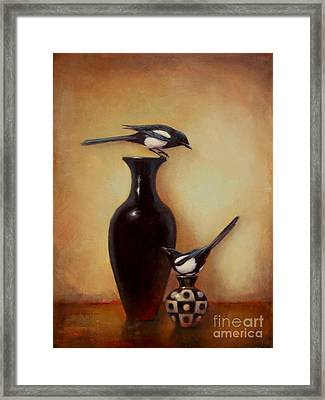 Yin Yang - Magpies  Framed Print by Lori  McNee