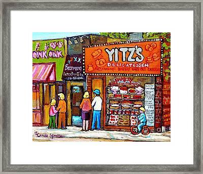 Yitzs Deli Toronto Restaurants Cafe Scenes Paintings Of Toronto Landmark City Scenes Carole Spandau  Framed Print by Carole Spandau