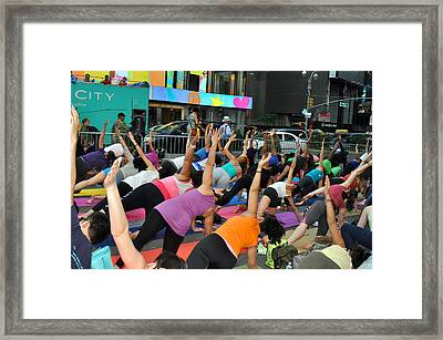 Yoga In Times Square Framed Print by Diane Lent