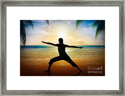 Yoga On Beach Framed Print by Bedros Awak