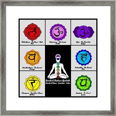 Yoga Reiki Seven Chakra Symbols Chart Framed Print by Ernest Bolds