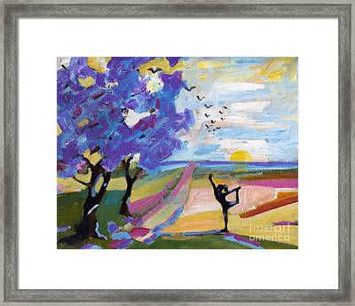 Yoga Under The Jacaranda Trees Framed Print by Ginette Callaway