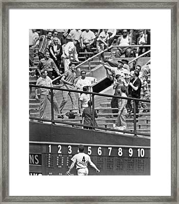Yogi Berra Home Run Framed Print by Underwood Archives