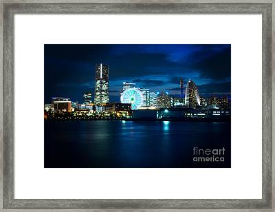 Yokohama Minatomirai At Night Framed Print by Beverly Claire Kaiya