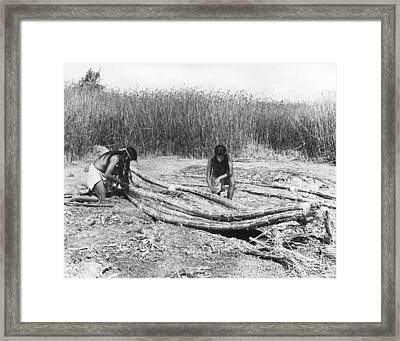 Yokuts Making Tule Boats Framed Print by Underwood Archives Onia