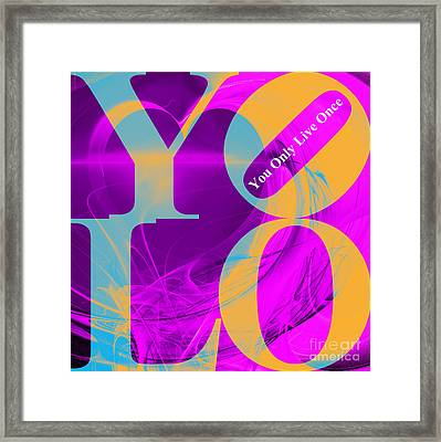 Yolo - You Only Live Once 20140125 Fractal Heart V1 Framed Print by Wingsdomain Art and Photography