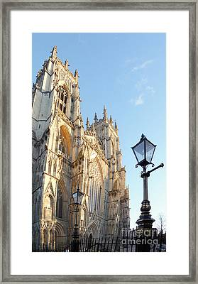 York Minster With Lampost Framed Print by Neil Finnemore